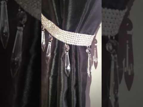 Real Rhinestone diamante drop pendant tie backs