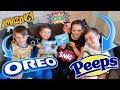 OREO PEEPS VS MARSHMALLOW PEEPS! #oreos #peeps #oreopeeps #challenge #kids #schoolholidays