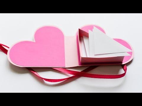 How to Make - Paper Box Heart Greeting Card Gift - Step by Step DIY | Pudełko Kartka Serce
