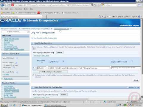 Oracle EnterpriseOne - Enable User Logging in Server Manager.mp4