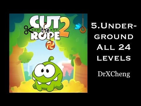 Cut the Rope 2 Walkthrough - All 24 Underground 3 Stars + Medal [HD]