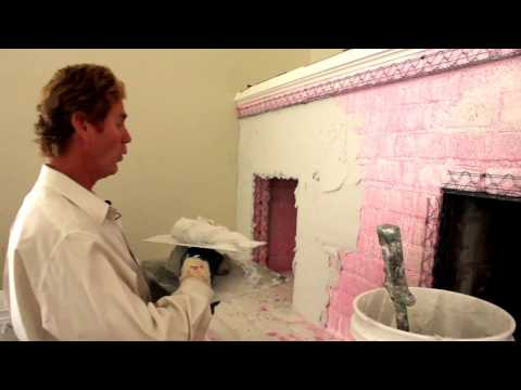 Structo-Lite plaster render over a brick or cinderblock fireplace