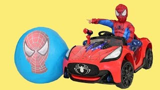 Spiderman Super Giant Surprise Egg Toys Unboxing Opening Fun Battery Powered Ride On Car CKN Toys