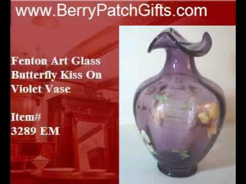 Fenton Art Glass Butterfly Kisses On Violet Vase