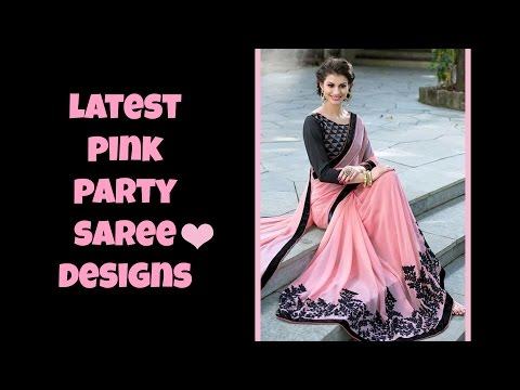 Latest Pink Party Saree Designs