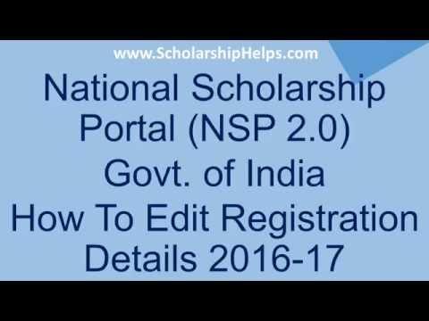 How To Edit Registration Details on NSP 2.0 - ScholarshipHelps com