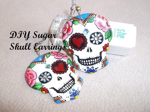 DIY Acrylic&Gel Sugar Skull Dangle Earrings