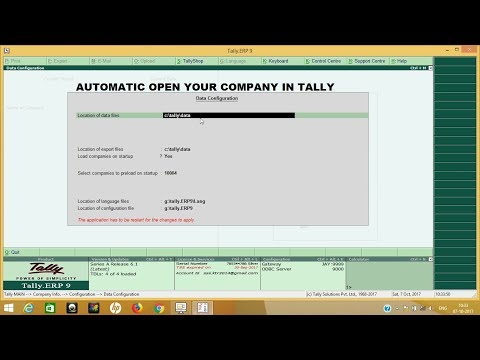 TALLY ERP9 6.1 | automatic company open in tally