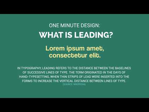 One Minute Design: What is Leading?