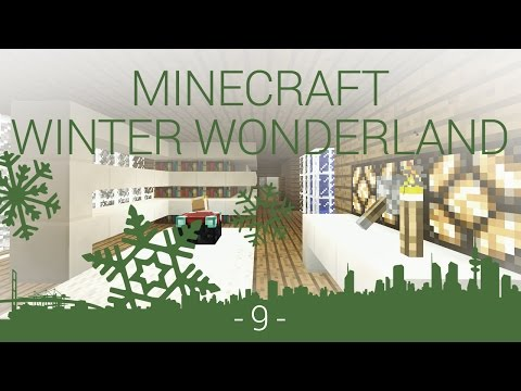 Minecraft Winter Wonderland - EP 9 - modern bookshelf and bathroom