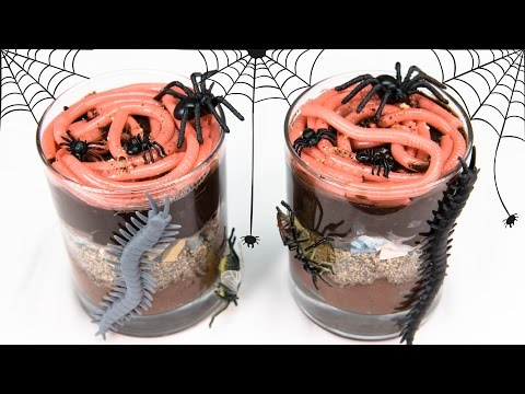 Gummy Worms in Dirt Cups for Halloween from Cookies Cupcakes and Cardio