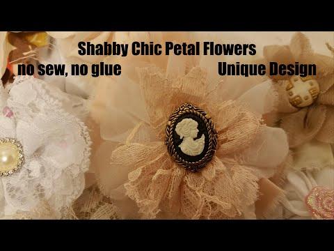 Fabric Flower Diy, Shabby Chic tutorial, chiffon, lace, organza flower diy, hair pin