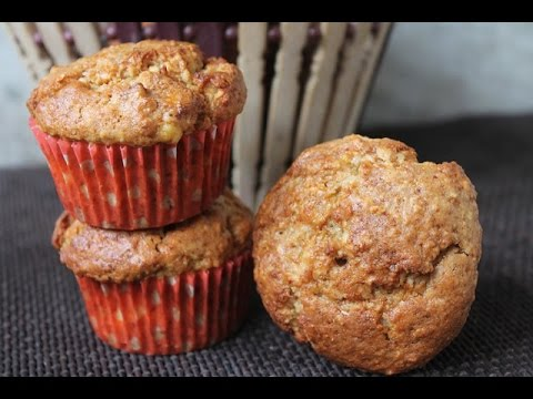 Healthy Eggless Banana Oats Muffin Recipe - with whole wheat flour