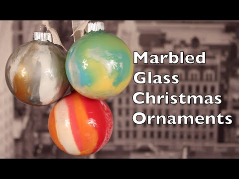 DIY Christmas Ornaments   How To Make Marbled Glass Christmas Ornaments