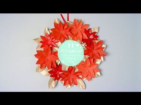 How to Make a Poinsettia Paper Wreath