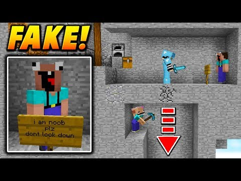 FAKE NOOB PLAYER TROLL! - Minecraft SKYWARS TROLLING (FLOOR TRAP!)