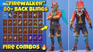 "New ""firewalker"" Skin Showcased With 80  Back Blings! Fortnite Battle Royale (firewalker Combos)"