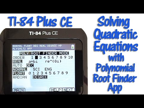TI 84 Plus CE Solving Quadratic Equations with the Polynomial Root Finder App