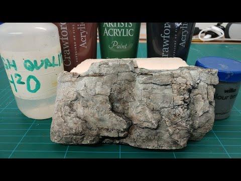 Realistic scenic rocks - Acrylic wash technique