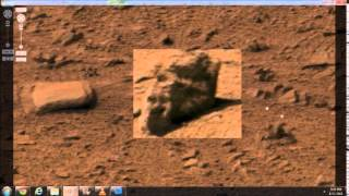 Mars has Life!  Where to find ape-like statue head and nearby object that moved