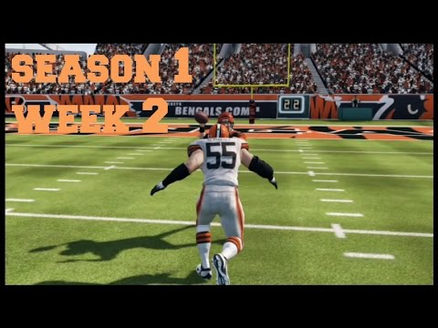 Madden 13 Middle Linebacker Cleveland Browns vs.Cincinnati Bengals Season 1 Week 2: Wii U