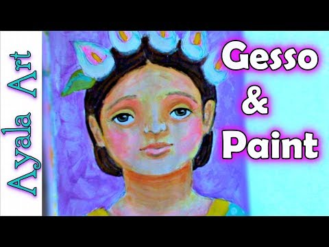 Easy acrylic painting colorful portrait for beginners
