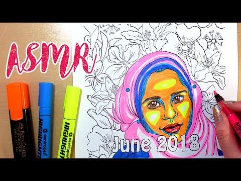 ASMR Coloring with Markers - No Talking || Muslim Girl Coloring Calendar