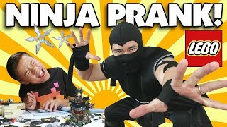 NINJA DAD SCARES EVAN!!! LEGO Ninjago City Build Prank GONE SCARY!