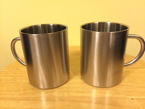 Set of 2 Double Walled Stainless Steel Mugs by Peak Eclipse