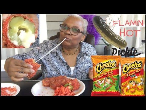 FLAMIN HOT CHEETOS  DEEP FRIED PICKLES • MUKBANG