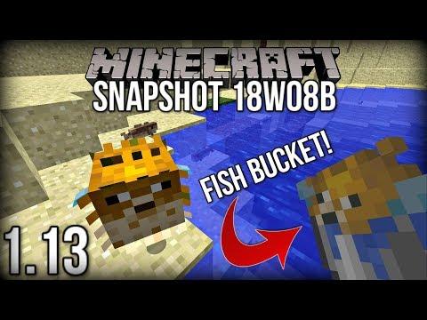 Minecraft 1.13 Snapshot 18w08b | SWIMMING FISH and FISH IN BUCKETS! (Update Aquatic)