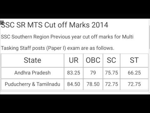SSC MTS Previous Year Cut off Marks | SSC Multi Tasking Exam 2014-2015