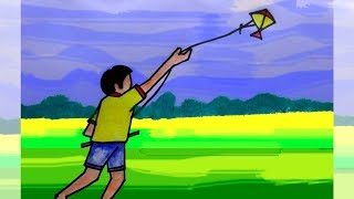 How To Draw Boy Flying Kite Drawing For Kids The Most Popular High