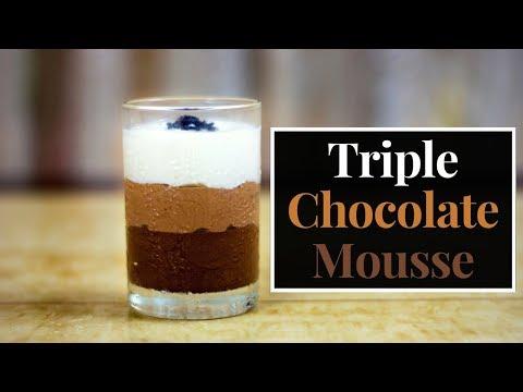 क्रिसमस स्पेशल Recipe   No-Bake Triple Chocolate Mousse Recipe in Hindi   No egg No Gelatin