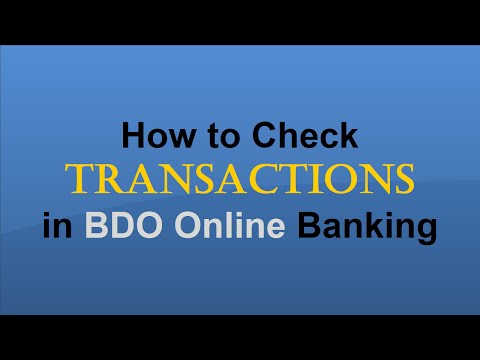 How to Check Transactions in BDO Online Banking