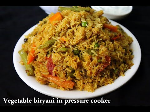 veg biryani in cooker - how to make vegetable biryani in cooker - easy pressure cooker biryani