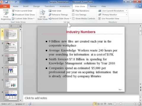 PowerPoint 2010 Set Up a Slide Show to Run in a Continuous Loop