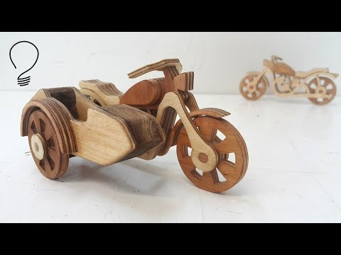 Sidecar Motorcycle out of Wood