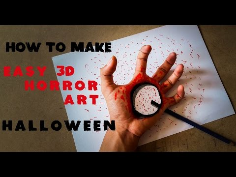 Halloween Makeup Tutorial: How To Make 3D Horror Art Halloween - Hand Horror