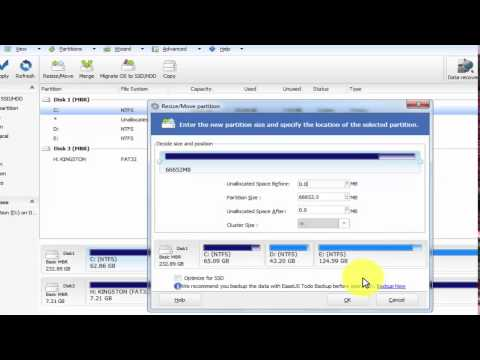 Resize drive c using EaseUs Partition master on windows