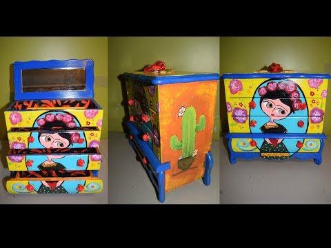 Remodelando caja de joyeria Frida kahlo 💍 Refurbished jewelry box DIY