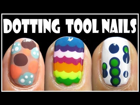 3 EASY DOTTING TOOL NAIL ART DESIGNS | HOW TO RAINBOW SHORT NAILS TUTORIAL CUTE BEGINNERS MANICURE