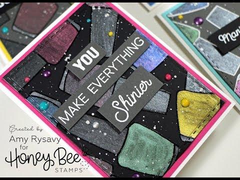 Honey Bee Shine On Card Set | Prima Metallic Watercolors