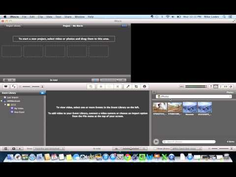 Add photos from iPhoto into an iMovie project