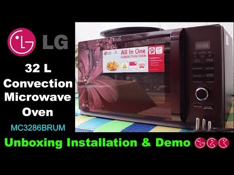 LG 32 L Convection Microwave Oven  (MC3286BRUM, Black) Unboxing & Demo