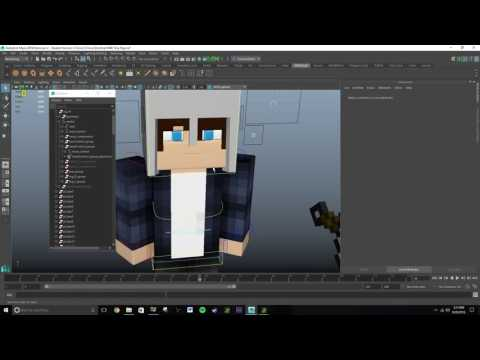 Maya 2016 Tutorial: How to Rig Objects to a Minecraft Character