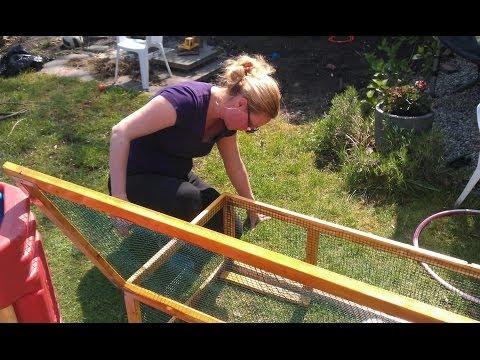 Nicole builds outdoor hutch for guinea pigs - Buitenhok bouwen voor cavia's