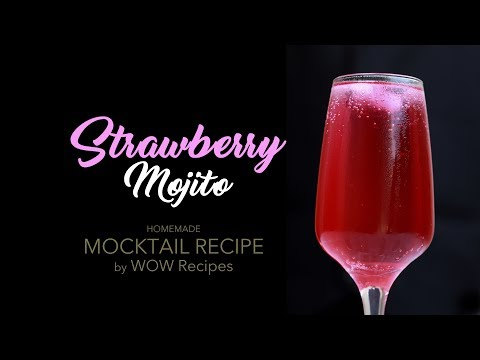 How To Make Strawberry Mojito | Home Made Mocktail Recipe | Quick Party Drink | WOW Recipes