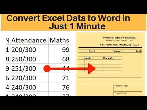 Convert Excel Marksheet to Word Marksheet
