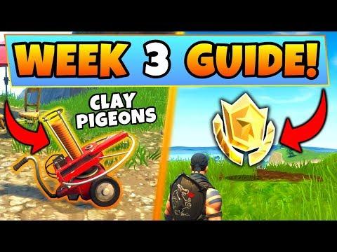 Fortnite WEEK 3 CHALLENGES GUIDE! – CLAY PIGEON Locations, Treasure MAP (Battle Royale Season 5)